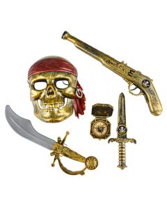 Rinco Pirate Raider Halloween 5pc Costume Accessory Set, Gold Red, One Size