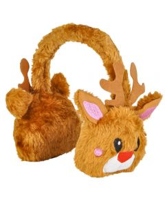 Rinco Kids Warm Plush Holiday Reindeer Ear Muffs, Brown White, One Size
