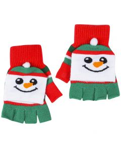 Christmas Snowman Child Fingerless Gloves with Mittens, Red Green, One Size