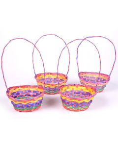 "Rainbow Soft Colored Bamboo Weave 12"" Easter Gift Basket w Handle"