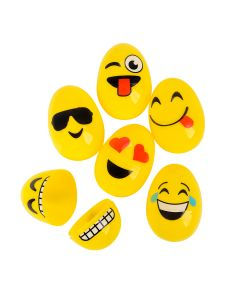 "Rinco Emoji Face 2.5"" Plastic Easter Eggs, Assorted Colors, 12 Pack"