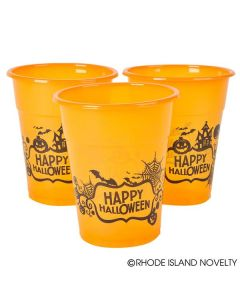 Happy Halloween Party Cups 12oz Plastic Cups, Orange Black, 6 Pack