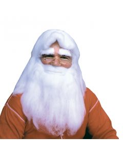 Rubies Santa Claus Costume Straight Fluffy 2pc Wig & Beard Set, White, One Size