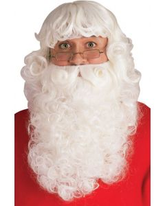 Adult Christmas Extra Curly Santa Claus 2pc Wig & Beard Set, White, One Size