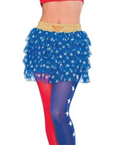 Rubies DC Wonder Woman Adult Layered Costume Skirt, Blue White Gold, One Size