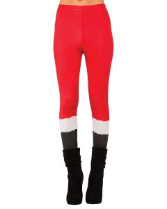 Rubies Sexy Ms Santa Suit Pant Printed Leggings, Red Black, One Size 100-170lbs