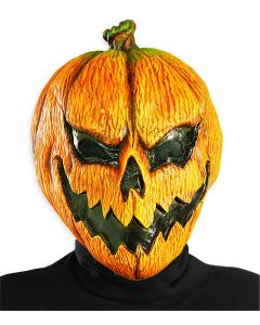 Rubies Halloween Jack-O-Lantern Evil Pumpkin Latex Mask, Orange, One Size