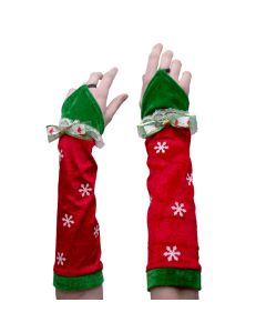 Rubies Christmas Elf Women Snowflake Arm Warmers, Red, One Size