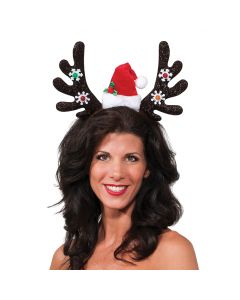 "Christmas Reindeer Light Up Antlers With Santa Hat Headband, 5.5"" Tall"
