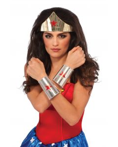 Halloween DC Wonder Woman Deluxe Tiara & Gauntlets 2pc Adult Accessory Set