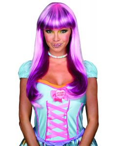 Rubies Halloween Sexy Bubblegum Candy Babe Wig, Pink Purple, One Size