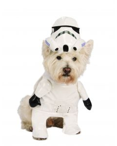 Halloween Star Wars Running Stormtrooper 2pc Pet Costume, White Black, Small
