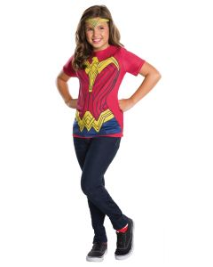 Halloween DC Batman v Superman Wonder Woman Shirt & Tiara 2pc Girl Costume, M