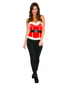 Rubies Christmas Elf Deluxe Sequin Sparkle Sexy Corset, Red White, Medium