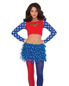 DC Comics Superheroes Wonder Woman Costume Crop Top, Red Blue, Medium/Large