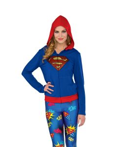 DC Super Hero Girls Supergirl Fitted Hoodie Costume Top, Blue Red, Small/Medium