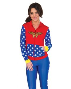 DC Super Hero Girls Wonder Woman Fitted Hoodie Costume, Red Blue, Small/Medium