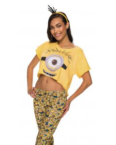 Minions Movie Stuart One Eyed Minion Costume Crop Top, Yellow, Medium/Large