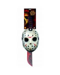 "Friday the 13th Jason Hockey Mask & 23"" Machete 2pc Costume Accessory, White Red"