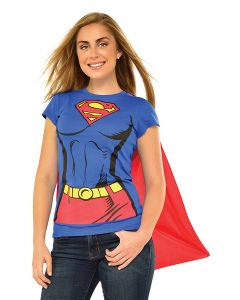 DC Comics Supergirl T-Shirt With Attached Cape Costume, Blue Red, Medium 8-10