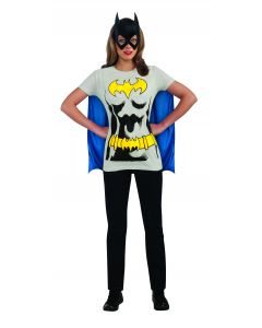 DC Comics Classic Batgirl T-Shirt With Attached Cape, Grey Blue, Large