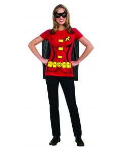 DC Comics Superheroes Classic Robin T-Shirt With Attached Cape, Red Blue, Small