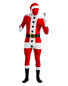 Christmas Santa Claus Suit Second Skin 3pc Adult Costume Bodysuit, Red White, M