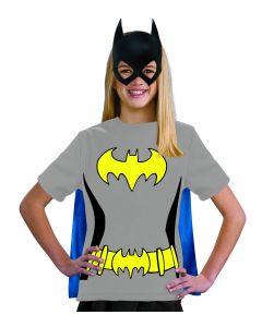 DC Comics Batman T-Shirt w Attached Cape & Mask Girl Costume, Grey, Medium