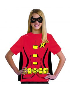 Rubies DC Comics Robin Mask & T-Shirt Costume with Cape, Red Yellow, Small 4-6
