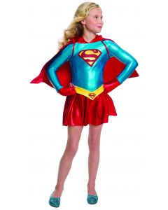 Rubies DC Comics Child Classic Supergirl Girl Costume, Red Blue, Small 4-6