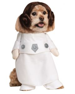 "Star Wars Princess Leia Episode IV Dog 2pc Pet Costume, White, Medium 14.5"" Neck"