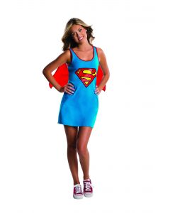 Rubies DC Comics Supergirl Tank Dress 2pc Teen Costume, Blue Red, Small 0-2