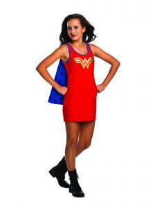 DC Superheroes Wonder Woman Tank 2pc Costume Dress with Cape, Red Blue, S