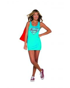 DC Comics Superheroes Supergirl Tank 2pc Teen Costume, Blue Red, Small 0-2