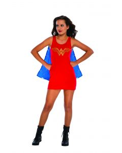 DC Comics Superheroes Wonder Woman Tank Dress With Cape 2pc Teen Costume, Red
