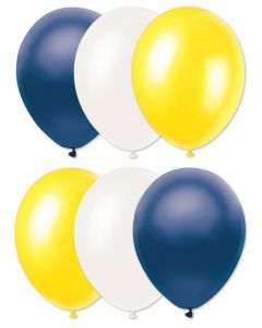 "Football Team Solid Party 6pc 11"" Latex Balloons, Navy Yellow White"