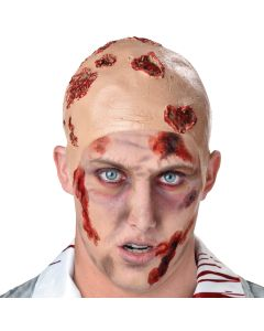 Seasons Zombie Infected Wound Halloween Bald Cap, One-Size, Beige Red