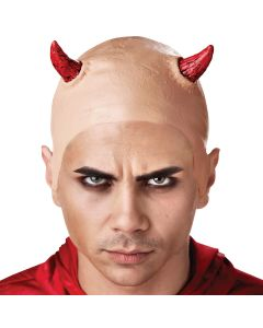 Seasons Evil Devil's Horns Costume Bald Cap, One-Size, Beige Red