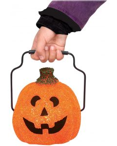 "Seasons Halloween Jack-O-Lantern Trick-Or-Treat Lantern, 5.5"", Orange Black"