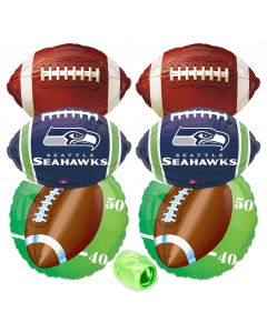 Seattle Seahawks  Football Mylar Foil Balloons Party Pack 7pc Green