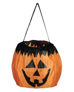 "Halloween Jack-O-Lantern Collapsable 6.5"" Trick or Treat Bucket, Orange Black"