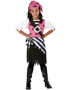 Seasons Halloween Punky Pirate Child 3pc Girl Costume, Medium 8-10, Black Pink