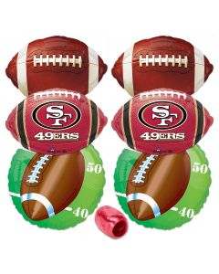 San Francisco 49ers  Football Party Mylar Foil 7pc Balloon Pack Red, Gold
