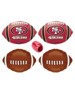 San Francisco 49ers  Football Party Mylar Foil Balloons 5pc Starter Pack