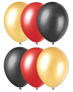 "Football Team Fan Solid 3-Color Party 11"" Latex Balloons, Red Gold Black, 6 CT"
