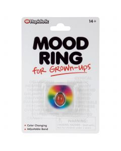 "Stupidiotic Mood Ring for Grown-Ups 2"" Novelty Toy, Silver Rainbow"