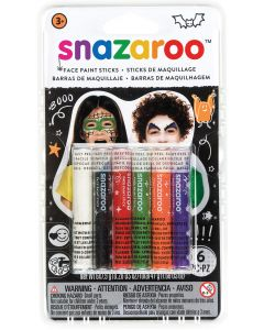 snazaroo Kids Detailing Makeup Halloween Color Set 6PC Face Paint Sticks, 47g