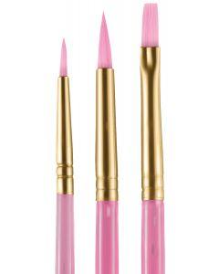 snazaroo Face Painting Starter Round & Flat 3pc Set of Brushes, Pink
