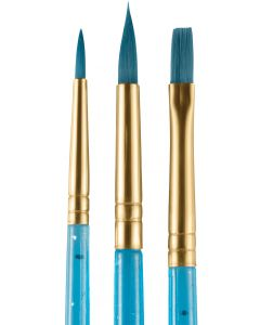 snazaroo Face Painting Starter Round & Flat 3pc Set of Brushes, Blue