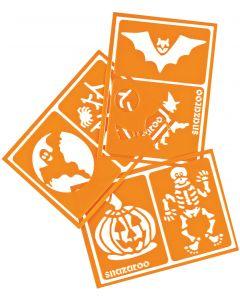 snazaroo Halloween Face Paint Makeup Stencils, 6 Designs, Orange